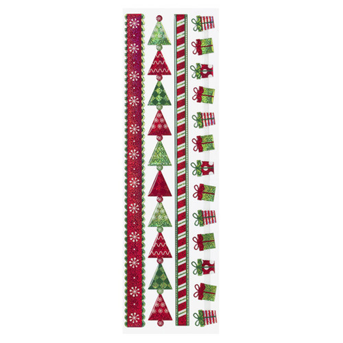 Christmas Ribbons 4 x 13 Dimensional Scrapbook Stickers by Sticko