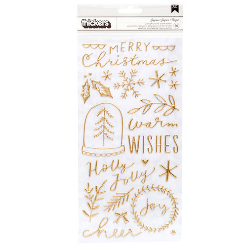 Thickers Collection 6 x 12 Joyous Gold Puffy Phrase & Accent Stickers by American Crafts - 76 Pieces
