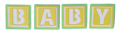 B-A-B-Y Blocks 2.5 x 2.5 Scrapbook Die Cut Embellishments by SSC Laser Designs - 4 Blocks