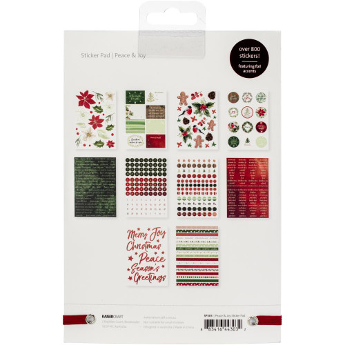 Peace & Joy Collection 6 x 8 Foil Accents Sticker Pad by Kaisercraft