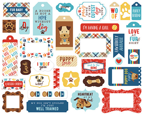 I Love My Dog Collection Tags & Frames 5 x 5 Die Cut Scrapbook Pieces by Echo Park Paper - 33 Pieces