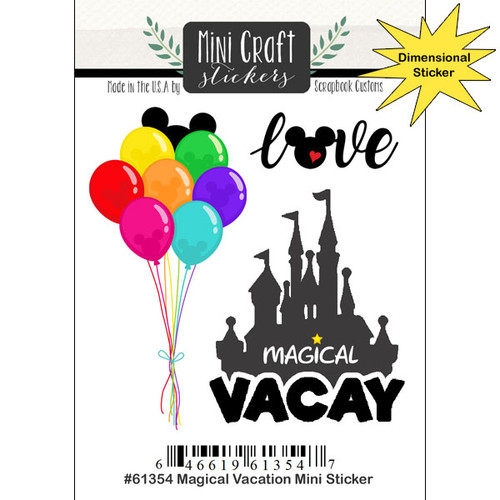 Magical Day of Fun Collection 3 x 5 Magical Vacation Scrapbook Embellishment by Scrapbook Customs