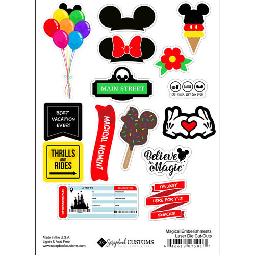 Magical Day of Fun Collection Magical Embellishments 6 x 8 Laser Die Cuts by Scrapbook Customs - 15 Pieces
