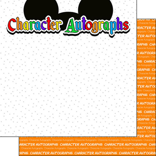 Magical Day of Fun Collection Character Autographs 12 x 12 Double-Sided Scrapbook Paper by Scrapbook Customs