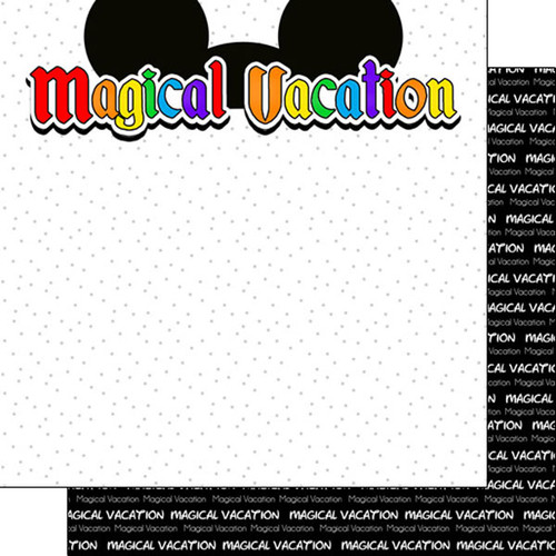 Magical Day of Fun Collection Magical Vacation Ears 12 x 12 Double-Sided Scrapbook Paper by Scrapbook Customs