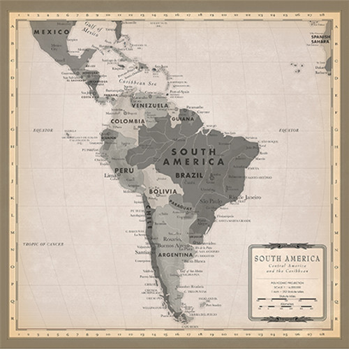 Cartography 2 Collection South America Map 12 x 12 Double-Sided Scrapbook Paper by Carta Bella