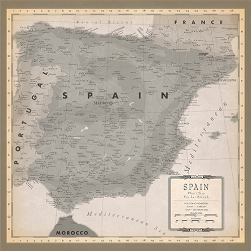 Cartography 2 Collection Spain Map 12 x 12 Double-Sided Scrapbook Paper by Carta Bella