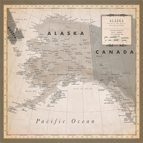 Cartography 2 Collection Alaska Map 12 x 12 Double-Sided Scrapbook Paper by Carta Bella