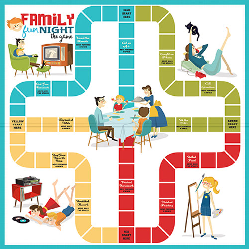 Family Night Collection Soda 12 x 12 Double-Sided Scrapbook Paper by Carta Bella