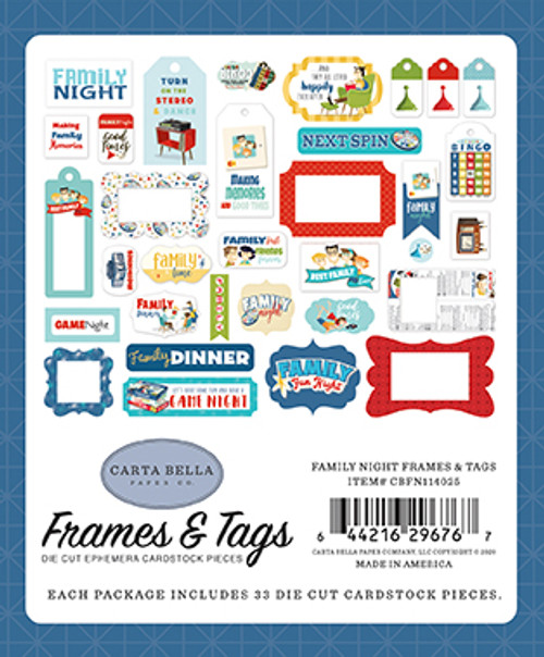 Family Night Collection 5 x 5 Frames & Tags by Carta Bella