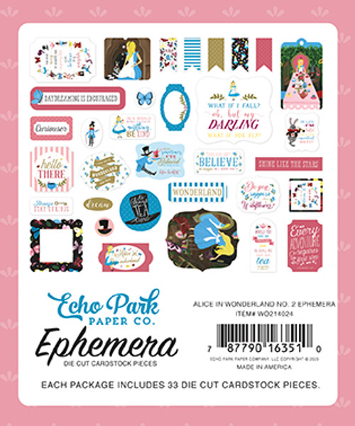 Alice In Wonderland 2 Collection Ephemera 5 x 5 Scrapbook Die Cuts by Echo Park Paper