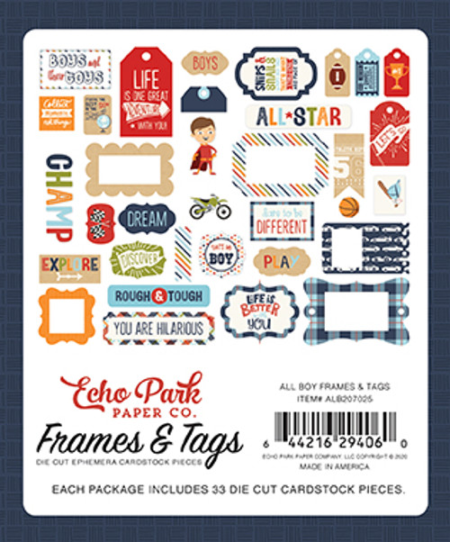 All Boy Collection Frames & Tags 5 x 5 Scrapbook Die Cuts by Echo Park Paper