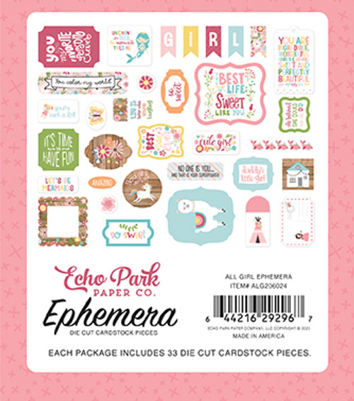 All Girl Collection Ephemera 5 x 5 Scrapbook Die Cuts by Echo Park Paper