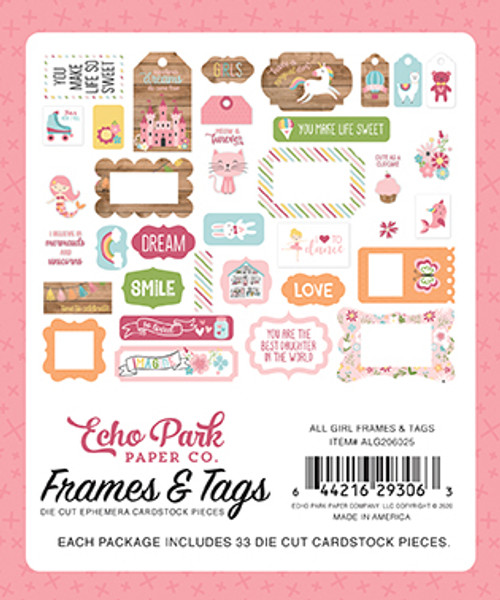 All Girl Collection Frames & Tags 5 x 5 Scrapbook Die Cuts by Echo Park Paper