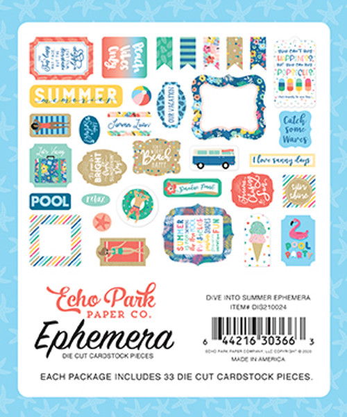 Dive Into Summer Collection Ephemera 5 x 5 Scrapbook Die Cuts by Echo Park Paper