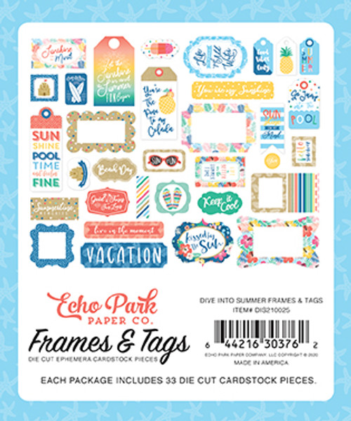 Dive Into Summer Collection Frames & Tags 5 x 5 Scrapbook Die Cuts by Echo Park Paper