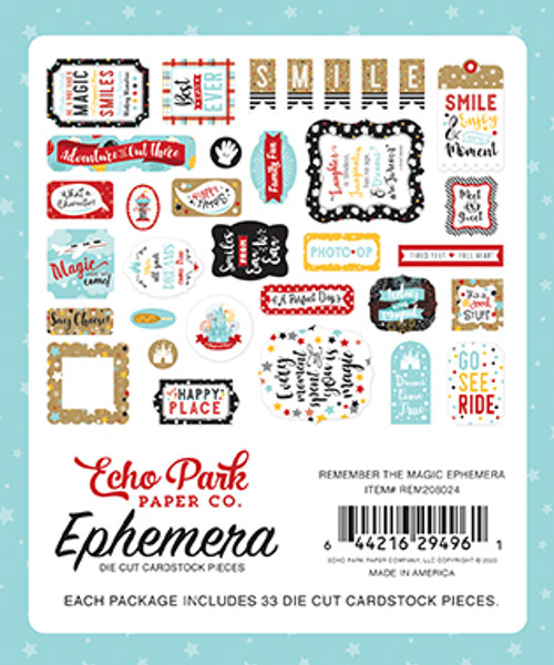 Remember The Magic Collection Ephemera 5 x 5 Scrapbook Die Cuts by Echo Park Paper