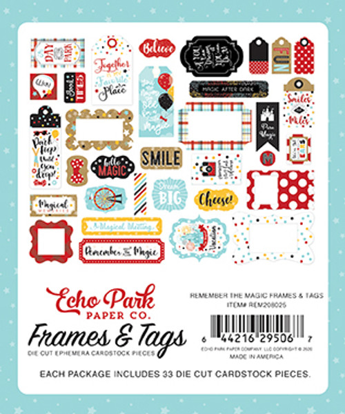 Remember The Magic Collection Frames & Tags 5 x 5 Scrapbook Die Cuts by Echo Park Paper