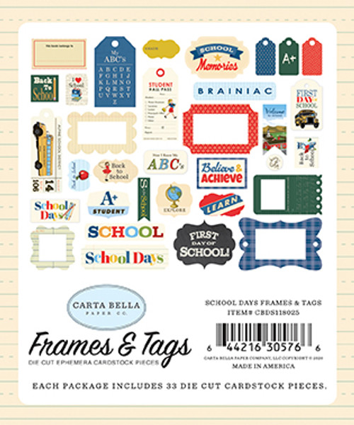 School Days Collection Frames & Tags 5 x 5 Scrapbook Die Cuts by Carta Bella