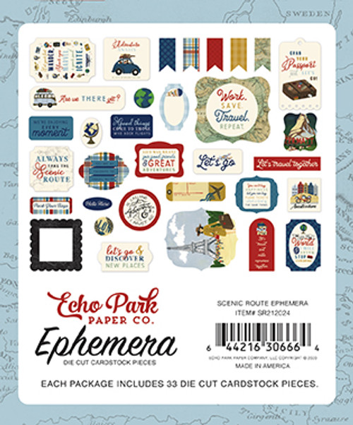 Scenic Route Collection Ephemera 5 x 5 Scrapbook Die Cuts by Echo Park Paper (