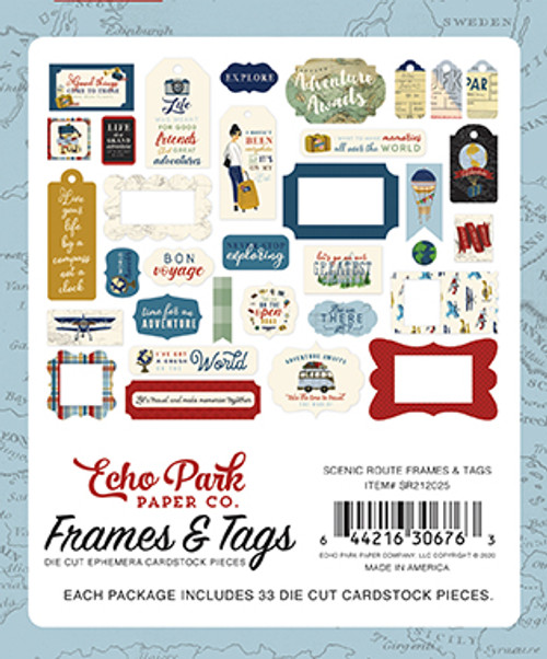 Scenic Route Collection Frames & Tags 5 x 5 Scrapbook Die Cuts by Echo Park Paper