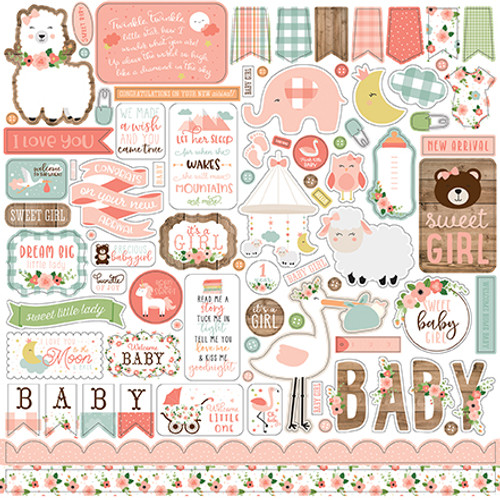 2 Sheets ADORABLE Glitter Baby 12 x 12 Scrapbook Paper