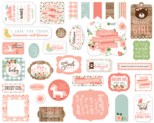 Baby Girl Collection Ephemera 5 x 5 Scrapbook Die Cuts by Echo Park Paper