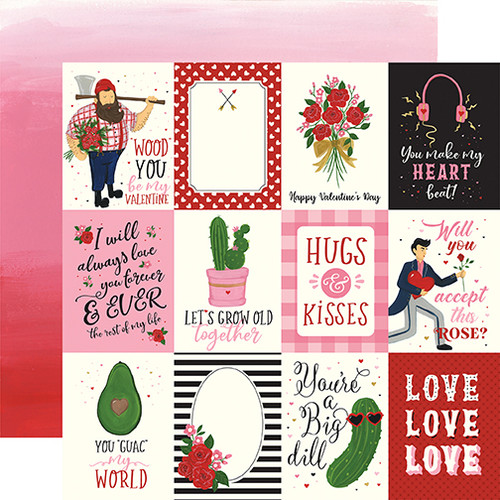 Be My Valentine Collection 3 x 4 Journaling Cards 12 x 12 Double-Sided Scrapbook Paper by Echo Park Paper