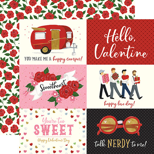 Be My Valentine Collection 6 x 4 Journaling Cards 12 x 12 Double-Sided Scrapbook Paper by Echo Park Paper