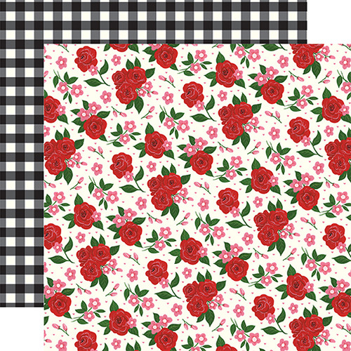 Be My Valentine Collection Valentine's Floral 12 x 12 Double-Sided Scrapbook Paper by Echo Park Paper