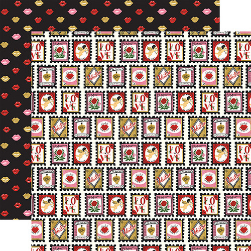 Be My Valentine Collection Love Stamps 12 x 12 Double-Sided Scrapbook Paper by Echo Park Paper