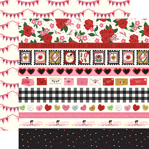 Be My Valentine Collection Border Strips 12 x 12 Double-Sided Scrapbook Paper by Echo Park Paper