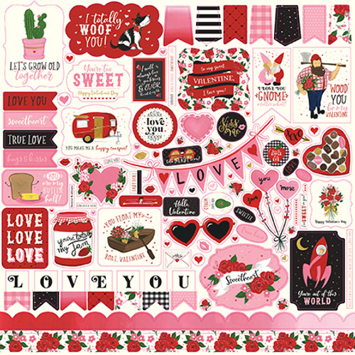 Be My Valentine Collection Elements 12 x 12 Scrapbook Sticker Sheet by Echo Park Paper
