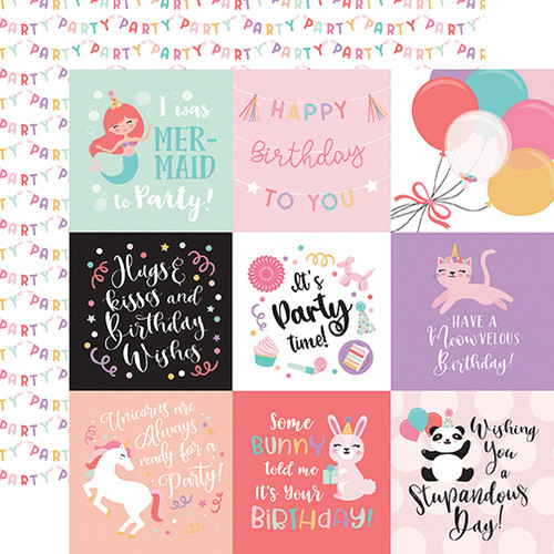 It's Your Birthday Girl Collection 4 x 4 Journaling Cards 12 x 12 Double-Sided Scrapbook Paper by Echo Park Paper