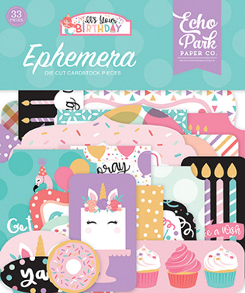 It's Your Birthday Girl Collection Ephemera 5 x 5 Scrapbook Die Cuts by Echo Park Paper