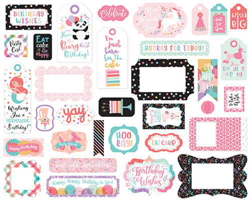 It's Your Birthday Girl Collection Tags & Frames 5 x 5 Scrapbook Die Cuts by Echo Park Paper