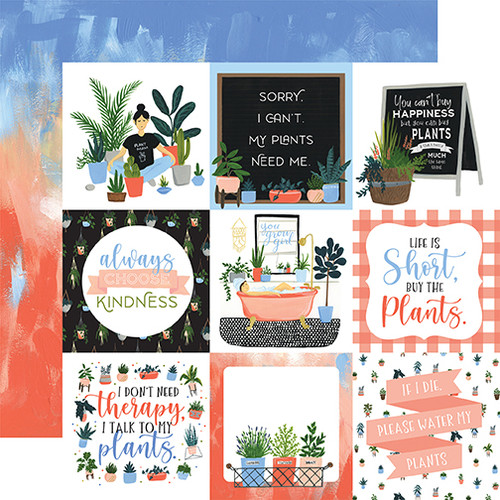 Plant Lady Collection 4 x 4 Journaling Cards 12 x 12 Double-Sided Scrapbook Paper by Echo Park Paper