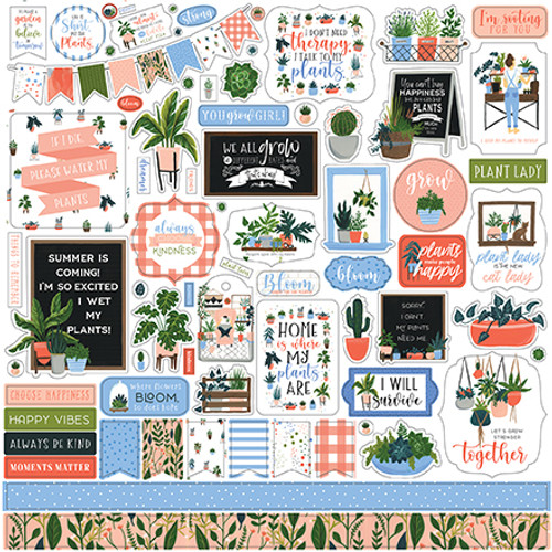 Plant Lady Collection Elements 12 x 12 Scrapbook Sticker Sheet by Echo Park Paper