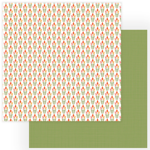 Tulla & Norbert Collection Tip Toe Through The Tulips 12 x 12 Double-Sided Scrapbook Paper by Photo Play Paper