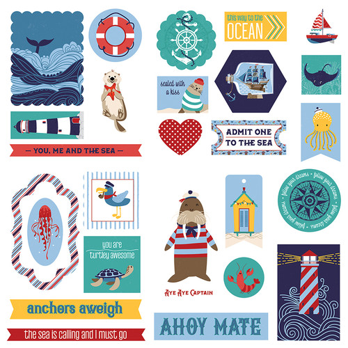 Monterey Bay Collection Ephemera 5 x 5 Scrapbook Die Cuts by Photo Play Paper