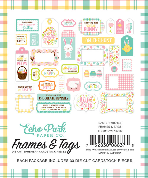 Easter Wishes Collection Frames and Tags 4x6 Scrapbook Die Cuts by Echo Park Paper