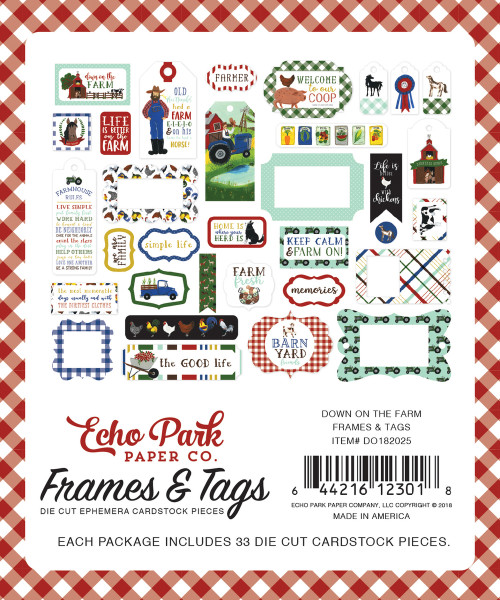 Down On The Farm Collection 4x6 Frames and Tags Scrapbook Cardstock Die Cut Pieces by Echo Park Paper
