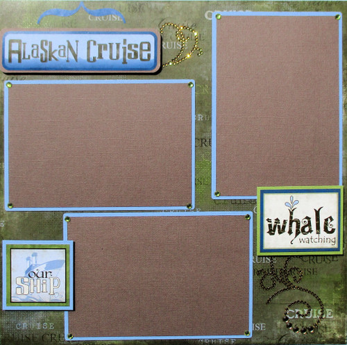 Alaskan Cruise 2 - 12 x 12 Pages, Fully-Assembled & Hand-Crafted 3D Scrapbook Layout by SSC Designs