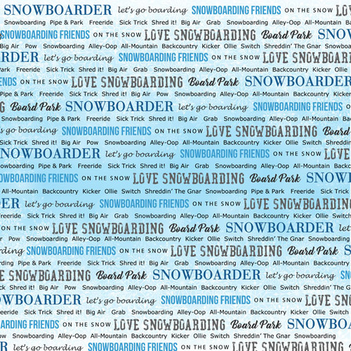 Winter Adventure Collection Snowboarding 12 x 12 Double-Sided Scrapbook Paper by Scrapbook Customs