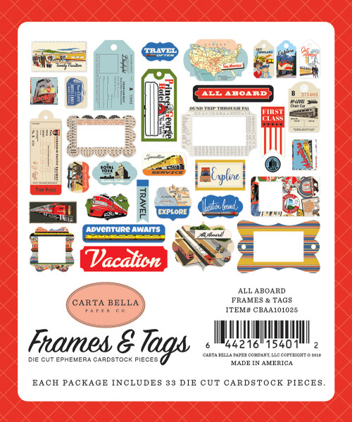 All Aboard Collection 5 x 6 Frames and Tags Scrapbook Embellishments by Carta Bella