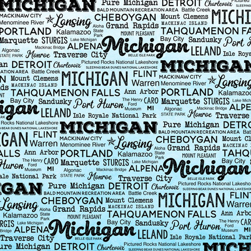 Postage Map Collection Michigan 12 x 12 Scrapbook Paper by Scrapbook Customs