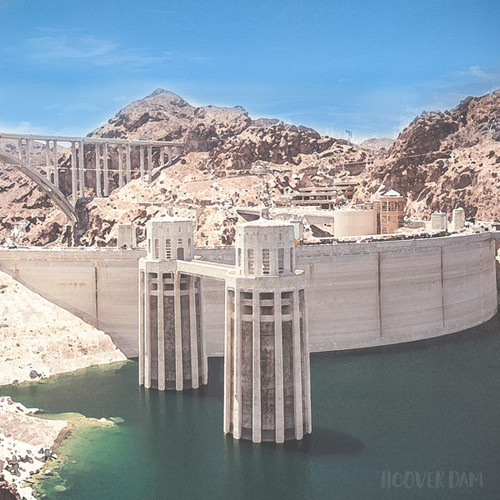 Nevada Lake Mead Hoover Dam 12 x 12 Scrapbook Paper by Scrapbook Customs