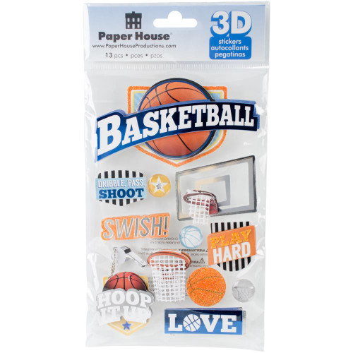 Sports Collection Basketball Swish 5 x 7 Glitter & Foil 3D Scrapbook Embellishment by Paper House Productions