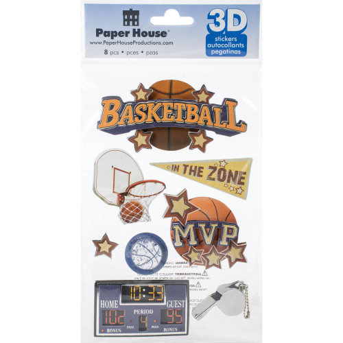 Sports Collection Basketball 5 x 7 Glitter & Foil 3D Scrapbook Embellishment by Paper House Productions