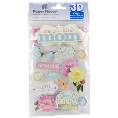 Family Collection Mom 5 x 7 Glitter & Foil 3D Scrapbook Embellishment by Paper House Productions